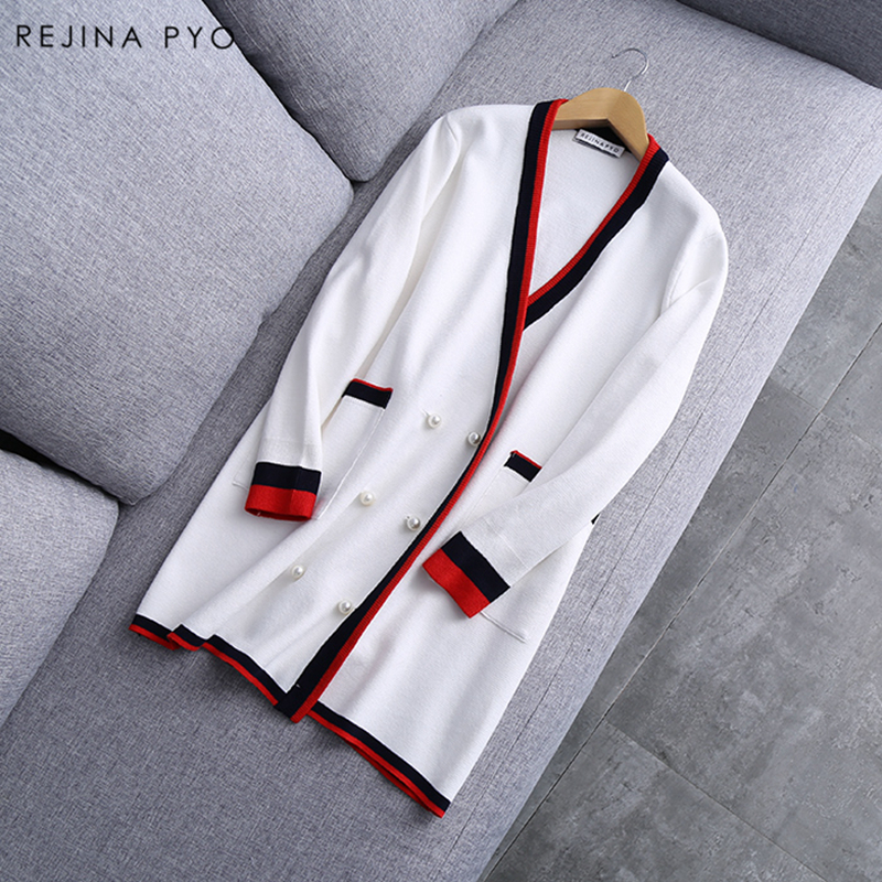REJINAPYO 2019 Spring New Arrival Women Black Contrast White Knitted Sweater Pearl Decoration Buttons Long Open Stitch V neck