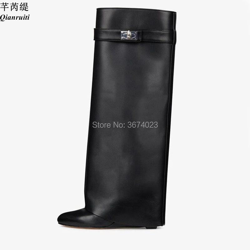 ce2ab3cc387 Qianruiti Bottes Femmes Knee High Tube Boots Shark Lock Strap Wedges Pointe  Toe Shoes Women Leather