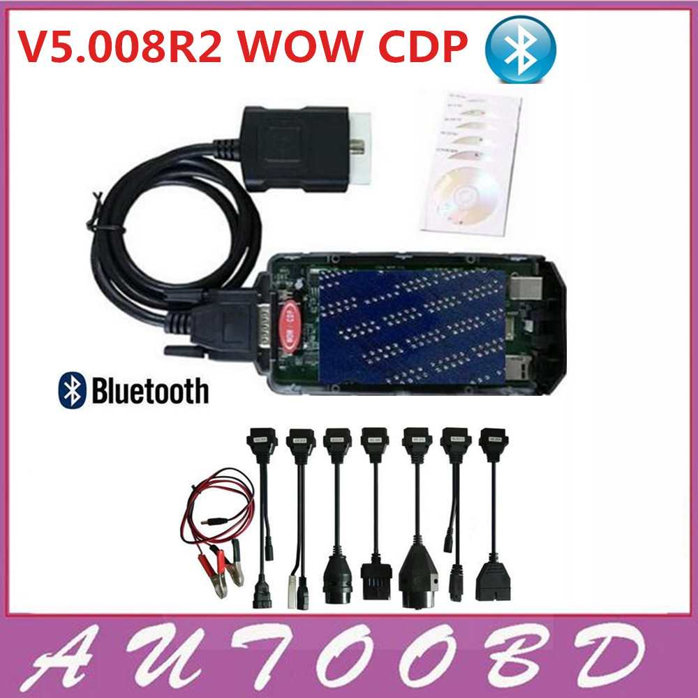 Latest 5.008R2 WOW CDP Scanner Bluetooth+Keygen VD TCS CDP Pro+8pcs full set car cables for Cars trucks Diagnostic Tool DHL Free multi language professional diagnostic scanner same function as tcs cdp plus scanner multidiag pro tf card bluetooth v2015 3