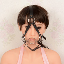 Sexy Oral Mouth Gap Ring with Leather Bandage Masks Strap Sex Products Adult Games Harness Saddlery stainless steel fork flail