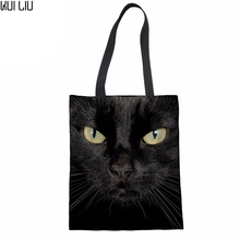 Black Cat 3D Printing Canvas Shopping Bags for Women Eco Reusable Foldable Shoulder Bag lady Handbag Tote Cotton