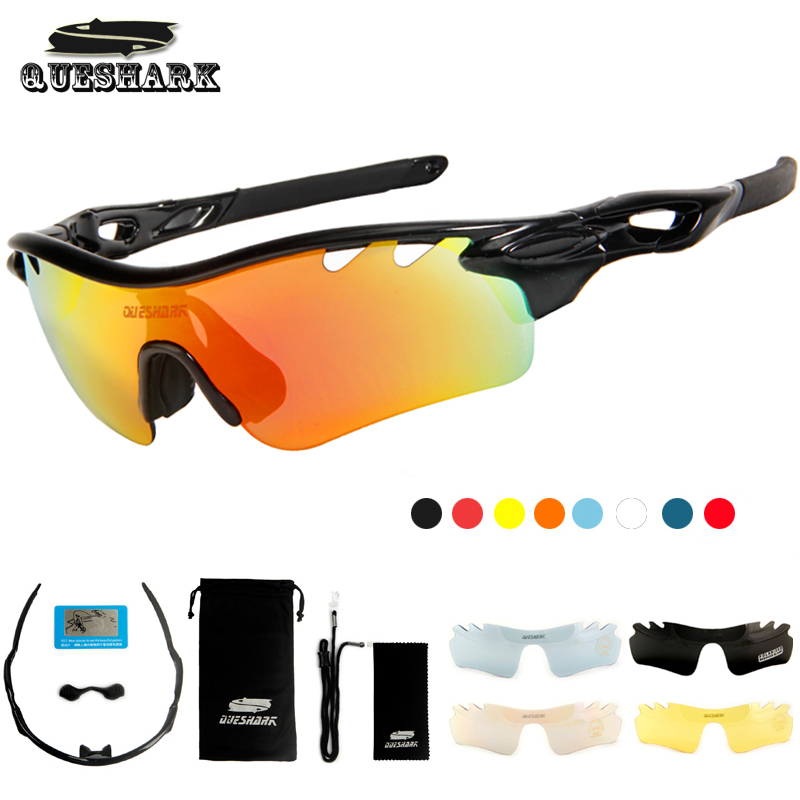 Queshark Polarized Cycling Glasses Bike Goggles Sports Bicycle Sunglasses TR90 UV400 5Lens Outdoor Hiking Riding Fishing Eyewear queshark polarized cycling sunglasses mountain road bike glasses riding bicycle goggles hiking sports eyewear with myopia frame
