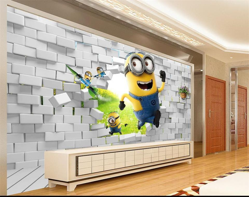 3d photo wallpaper custom size mural kids room Minions brick wall 3d painting sofa TV background non-woven wallpaper for wall 3d