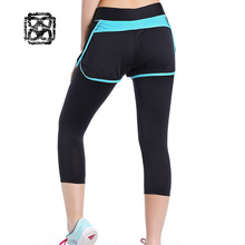 Fake 2 pieces set yoga pants Gym sport leggings Compression Cropped Trousers running tights women