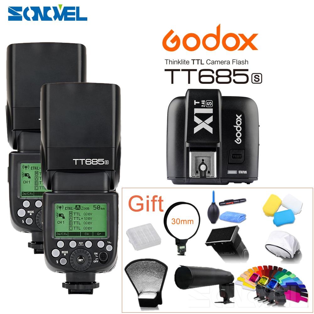 2x Godox TT685S 2.4G HSS TTL GN60 Flash Speedlite+X1T-S Transmitter for Sony A58 A7RII A7II A99 A7R A7S A6500 A6300 A6100 A6000 pixel x800s standard gn60 hss ttl flash speedlite 2pcs king pro 2 4g flash trigger transceivers for sony a7 a7s a7r a7rii