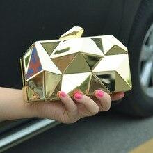 Mode Bump tag clutches Metall Plating Gold handtasche charakter Wristlets frauen abendtasche handtasche Nachtclub mini geldbörse SA27