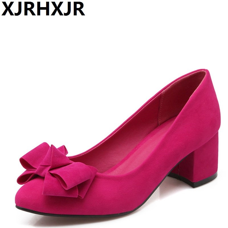 XJRHXJR Fashion Flock Shoes Woman Sweet Bowtie Pointed Toe Single Shoes Ladies Pumps Square Heel Office Dress Shoes Big Size plus big size 34 47 shoes woman 2017 new arrival wedding ladies high heel fashion sweet dress pointed toe women pumps a 3