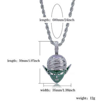 JINAO Hip Hop Jewelry Dragon Ball Iced Out Chain Anime Piccolo Pendant Cubic Zircon Necklace for Christmas Gifts