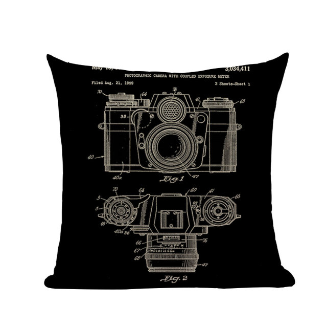Retro Black Linen Cushion Cover
