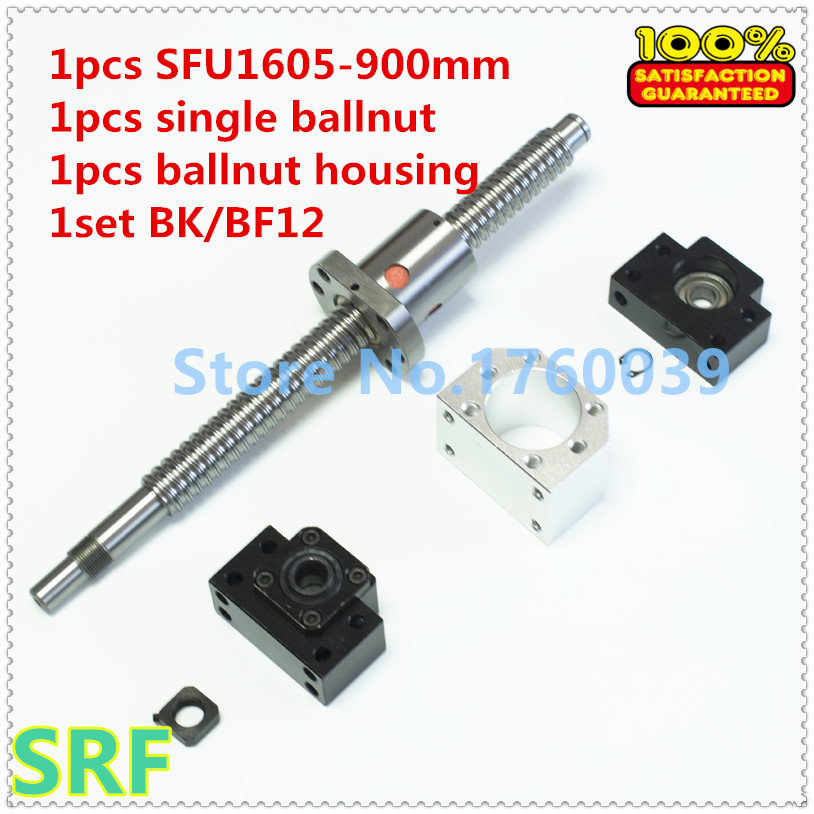 1605 Ballscrew set:1pcs 16mm Ball screw SFU1605 L=900mm C7+1pcs single Ballnut +1set BK/BF12 support+1pcs ballnut housing sfu3210 ball screw l1000mm ballscrew 1pcs single ballnut