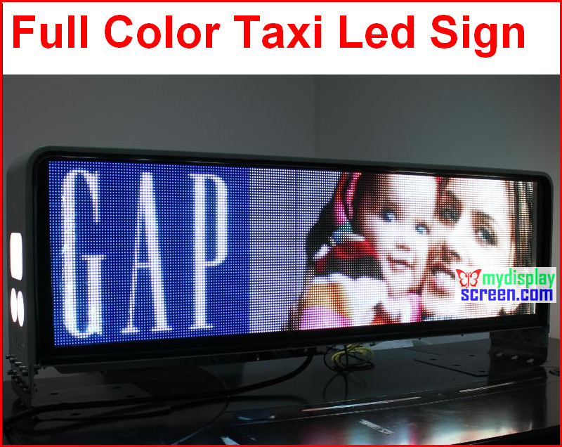 Taxi led full color screen display, 960mm * 320mm, ampio angolo di visione, 5mm smd alta clear taxi segno, 5 m-100 m, su radura, 192*64 pixelTaxi led full color screen display, 960mm * 320mm, ampio angolo di visione, 5mm smd alta clear taxi segno, 5 m-100 m, su radura, 192*64 pixel