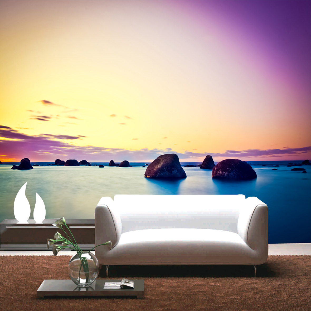 living mural sunset bedroom korean wall backdrop landscape ocean 3d tv wallpapers