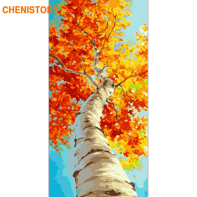 CHENISTORY Frame Autumn Yellow Tree DIY Painting By Numbers Large Size Landscape Acrylic Paint On Canvas For Living Room Artwork