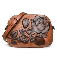 Women Messenger Bags Flowers Printing Vintage Bags Small Retro Flap Cross Body Bags High Quality Leather Shoulder Bolsa Female