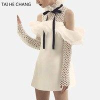 2017 kadın elbise stil yeni moda zarif vestidos bodycon ince seksi parti beyaz mini pist bahar sonbahar dantel elbise 285070