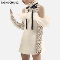 2017 Women Brand Style Top Grade New Fashion Elegant Vestidos Bodycon Slim Sexy Party White Mini