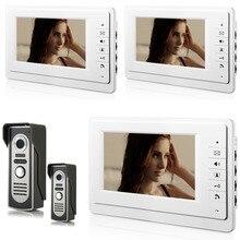YobangSecurity 7 Inch Wire Video Doorbell Door Phone Entry System Home Security Camera Video Door Intercoms 2-camera 3-monitor