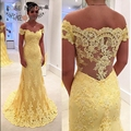 Fora do Ombro Mangas Curtas Amarelo Rendas Sereia Vestido de Baile com Illusion Lace Voltar Formal Do Partido Vestido Custom Made