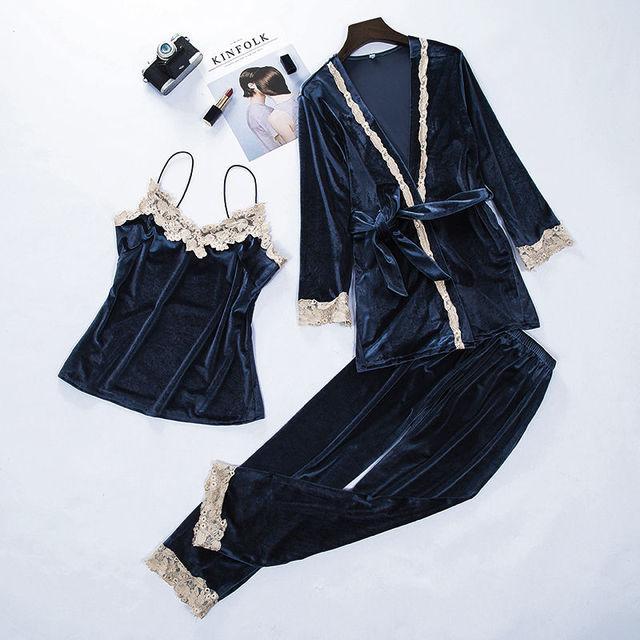 Women New Velvet Warm 3PCS Lace Sleepwear Set