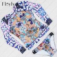 Floylyn Long Sleeve Swimwear Women Bikini Low Waist Swim Suit Female Vintage Print Biquini 2017 Hot