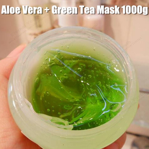 Natural Skin Repair Aloe Vera + Green Tea Mask 1000g Facial Damaged Recover Sleeping Mask Beauty Salon Equipment plitex aloe vera life