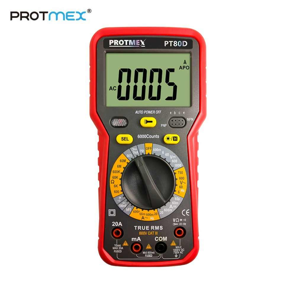 Protmex PT80C/80D 6000 Counts Digital  Multimeter DC/AC  Voltage, Current, Resistance, Capacitance Tester