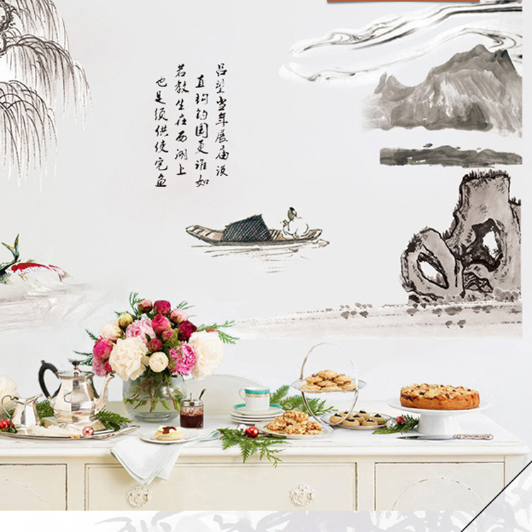 Chinese Words Weeping Willow Mountains Fish Boat Rivers Artificial Landscape Wall Stickers Oriental Culture Wallpaper Poster