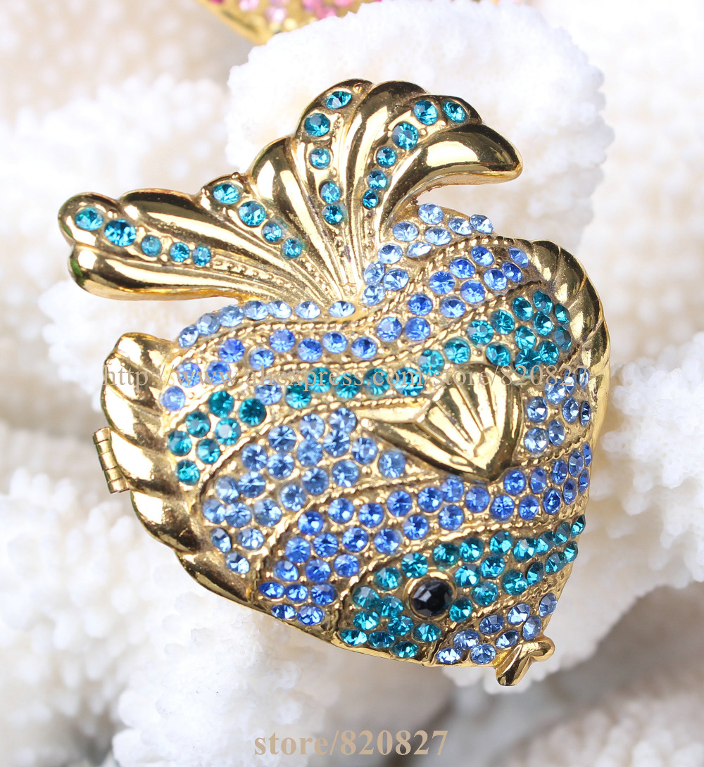 Ocean Fish Jewelry Box Fish Handmade Jeweled Metal Trinket Box Luxury Jewelry Box Organizer