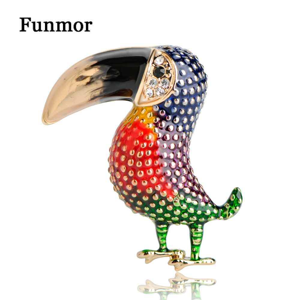 Funmor цвет ful эмаль Тукан дятел броши корсаж Золото Цвет для женщин мужчин костюм со стразами лацкан булавки птица животных Брошь Joias