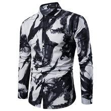 Casual Mens Shirts Long sleeve Fashion ink printing Shirt Men Slim fit Blouse clothing Turn-down collar New