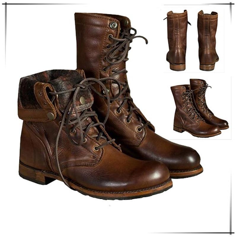 Militaire Arymy Désert Bottes Équitation 38 Taille 47 Cuir Top Haute Western La 38 Dentelle Pu Hommes Jusqu'à Chaussures 48 En Moto Marron Cheville nIqpwt