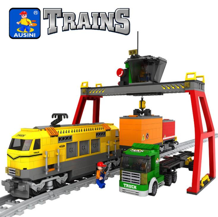 City Train Station Educational Building Model Block Construction Brick toys for children Compatible with lepin