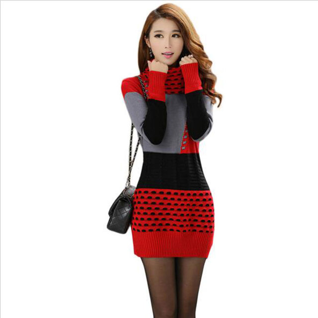 68610b0b560 Woman Winter Dress 2016 Knitted Dress Turtleneck Long Sleeve Women Sweater  Dress Sweaters and Pullovers Plus