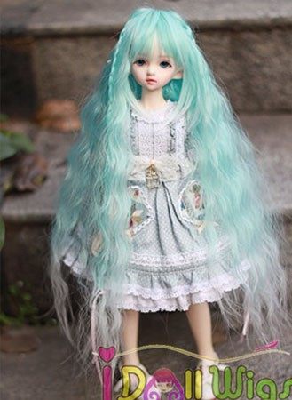 Free Shipping Hot sale synthetic Long blue to white ombre body wavy doll wig for Bjd 1/3 1/4 1/6 scale/Pullip doll ombre wigs iwona synthetic hair lace front long wavy brown pink ombre wig