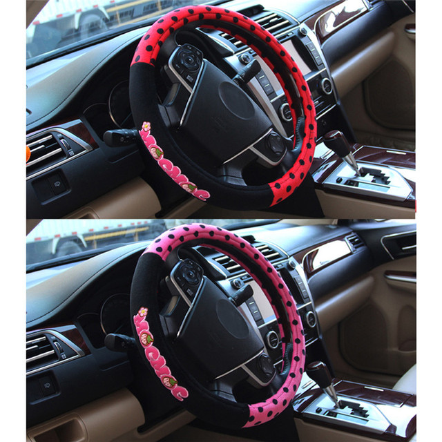 Cute Cartoon Steering Wheel Protective Cover Car Interior Decorations 38cm