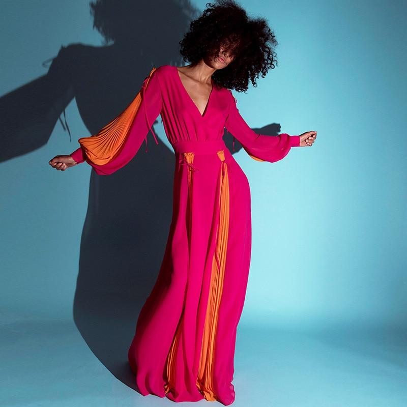 2019 européen et américain défilé de mode v-cou plissé lanterne manches contraste couleur couture plissée grande robe B398