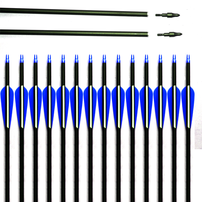 28 30 31 inch Spine 500 Carbon Arrow for Compound Recurve Bow Hunting and Archery Shooting