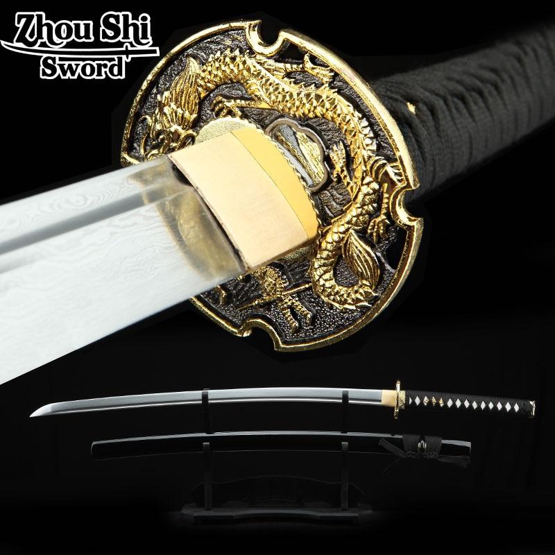 Full Handmade Japanese Katana Sword black Samurai Sword  Damascus steel Folded Steel Blade Practical Sharp Ninja sword souvenirs