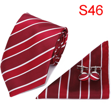 Tie for Men New Clasic Solid Red Silk Fabric Jacquard Woven Hanky Cufflinks Set Designer Fashion Ties 7.5cm