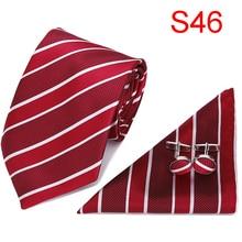 Tie for Men New Clasic Solid Red Silk Fabric Jacquard Woven Hanky Cufflinks Set Designer Fashion Ties 7.5cm