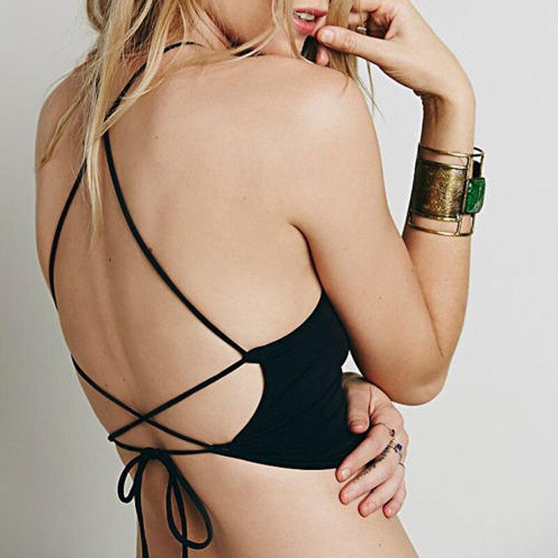 Summer Backless Cami Halter Crop Top Women Sexy Bustier Bralette Vest Cami Bra