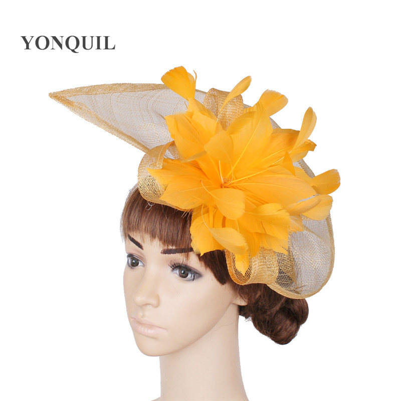 Yellow or Multiple colors sinamay fascinator hair ...