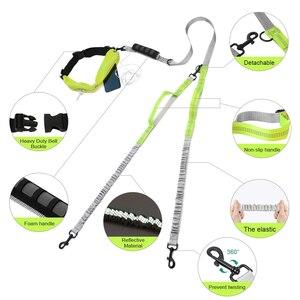 Image 4 - Поводок для собак, двойные поводки для бега, прогулки, эластичные, светоотражающие, нейлоновые, регулируемые, для маленьких, средних и больших собак
