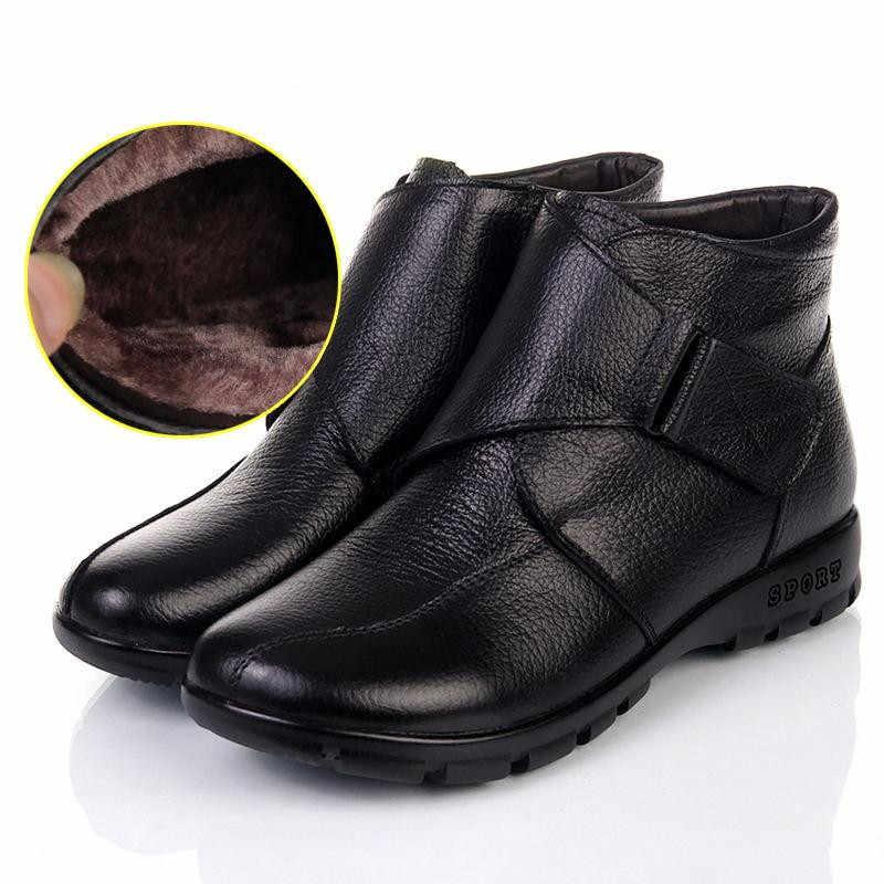 MUYANG סיני מותגי חורף נעלי אישה אמיתי עור שטוח שלג מגפיים מזדמנים קרסול מגפי נשים חם אמא נעלי נשים מגפיים