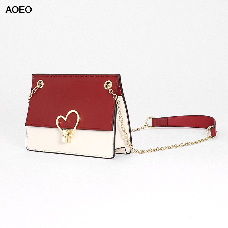 AOEO Women Messenger Bags Split Leather Ladies Small Summer Sling Crossbody Bag With Heart High Quality
