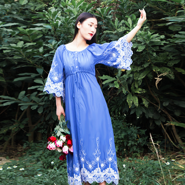 AIGYPTOS QLGZ 2017 Spring Women French Royal Flare Sleeve Vintage 100% Cotton Lace Embroidery Loose Expansion Bottom Long Dress