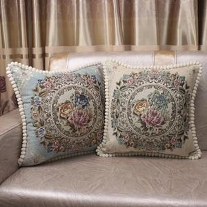 Image 2 - CURCYA lüks şönil jakarlı zarif minder kapakları kanepe ev dekoratif yastık kılıfı avrupa çiçek noel hediyesi