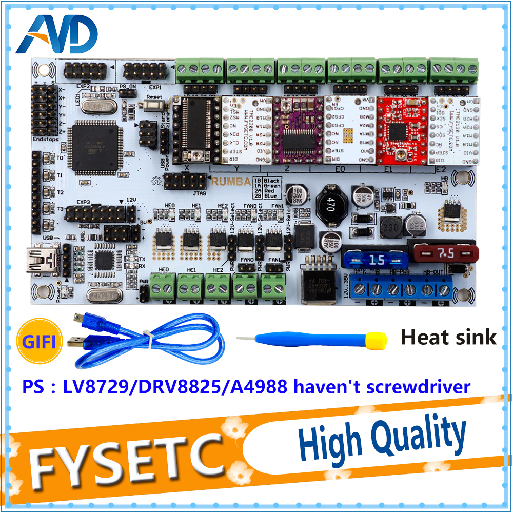 Rumba Plus 3D Printer Start Kits Mother Board Upgrade Rumba+ Control Board With 6pcs A4988/DRV8825 Stepper Driver 3d printer start mother board rumba control board stepper driver 6pcs heatsink for 3d printer accessories