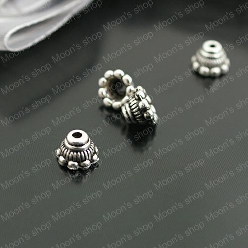 (26931)Fashion Jewelry Findings,Accessories,Vintage charm,Alloy Antique Silver 7*5MM,Flower Hat&Bead Caps Small petals 100PCS
