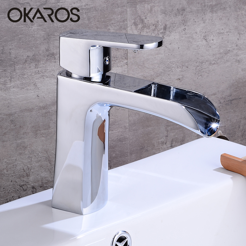 OKAROS Waterfall Basin Faucet Bathroom Faucet Chrome Brass Water Single Handle Bathroom Faucet Tap Mixer torneira do banheiro micoe hot and cold water basin faucet mixer single handle single hole modern style chrome tap square multi function m hc203